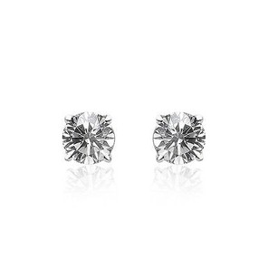 0.20 Carat Round Brilliant Cut Diamond Solitaire Stud Earrings 14k White Gold