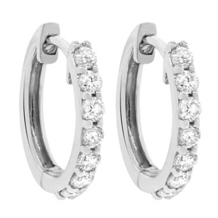 Other 0.42ct Diamond 14k White Gold Hoop Earrings