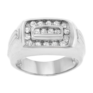0.65ct Diamond 14k White Gold Mens Ring