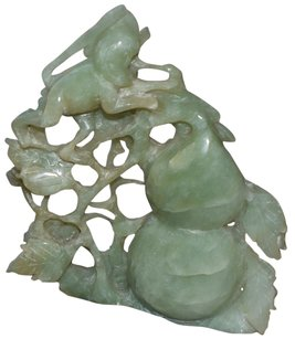 Other 100% Natural Hand-carved Jade Statue with Wooden Stand