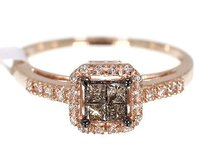 10k Ladies Rose Gold Brown Princess Diamond Wedding Engagement Ring 0.25 Ct