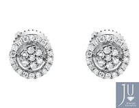 10k Mens Ladies White Gold Diamond Halo Cluster 3d Stud Earrings 7mm 0.25ct