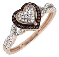 10k Rose Gold Heart Infinity Shank Brown And White Diamond Engagement Ring .20ct