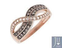 10k Rose Gold Infinity Cognac Brown And White Diamond Wedding Band Ring 0.50ct.