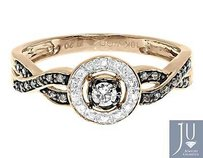 10k Rose Gold Ladies Brown White Diamond Halo Engagement Fashion Ring 0.20ct