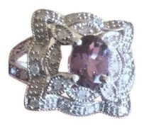 10K Solid White Gold .75ct Oval Purple Spinel with .22ctw Round Diamonds Ring Sz7