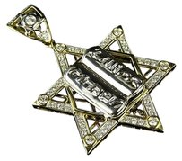 10k Two-tone Gold Star Of David Holy Book Inch Diamond Pendant Charm 1.50ct.