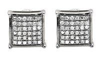 Other 10k White Gold 5mm Dome-shaped Square Genuine Diamond Stud Earring 0.30ct.