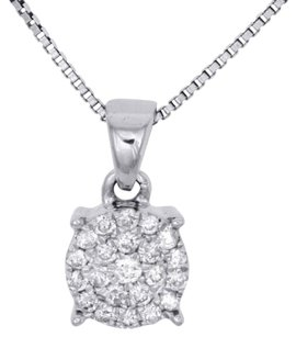 Other 10k White Gold Diamond Circle Pendant Ladies Cluster Charm W Chain 0.17 Ct.