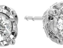 10k White Gold Diamond Round Stud Earrings (1cttw, I-J Color, I2-I3 Clarity)