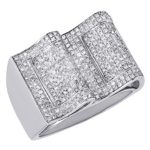 10k White Gold Genuine Round Diamond Mens Pave Wave Fashion Pinky Ring 1.17 Ct.