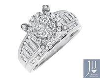 10k White Gold Halo Round And Baguette Cut Engagement Wedding Diamond Ring 1.0ct