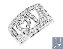 10k White Gold Love Spell Words Initials Genuine Diamond Band Ring 0.75ct.