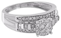 10k White Gold Ring Women Bridal Engagement Wedding Cluster Set Diamond Designer
