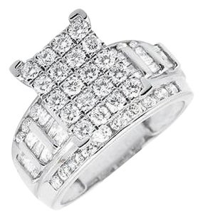 Other 10k White Gold Round And Baguette Cut Engagement Wedding Diamond Ring 2.0ct