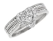 Other 10k White Gold Round Diamond Heart Shaped Bridal Engagement Ring Set .52ct 2mm