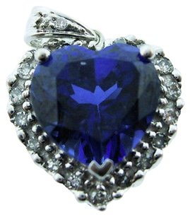 Other 10k White Gold Sapphire Diamond Heart Pendant Necklace Charm Love