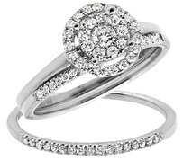 10k White Gold Stackable Flower Halo Diamond Engagement Wedding Ring Set 0.50ct