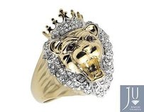 Other 10k Yellow Gold 3d Roaring Lion Head King Crown Diamond Statement Ring 0.50ct