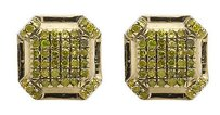 Other 10k Yellow Gold 7mm Octagon Shape Genuine Canary Diamond Stud Earring 0.33ct