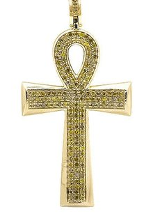 Other 10k Yellow Gold Ankh Cross Canary Diamond 1.75 Inch Pendant Charm 0.45ct.
