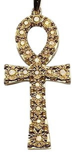Other 10k Yellow Gold Canary Stone Treated Ankh Genuine Diamond Charm 0.25 Ct 1.3