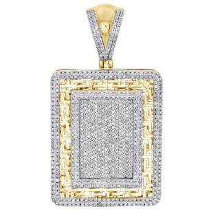 Other 10k Yellow Gold Diamond Dog Tag Pendant 1.95 Square Greek Key Charm 1.65 Ct.