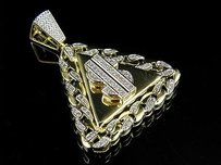 10k Yellow Gold Dollar Logo Miami Cuban Frame Diamond Charm Pendant 0.86ct 1.5
