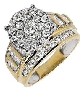Other 10k Yellow Gold Flower Round And Baguette Diamond Engagement Ring 2.0ct.