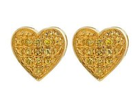 10k Yellow Gold Heart Shape Paved Round Canary Diamond Stud Earrings 0.10ct 7mm