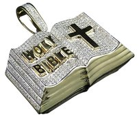 10k Yellow Gold Holy Bible Cross Iced Out Genuine Diamond Pendant Charm 2.0ct