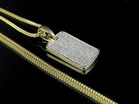 10k Yellow Gold Iced Out Diamond Dogtag 0.75 Ct 1.2 With Franco Chain 24