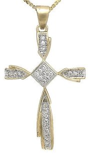 10k Yellow Gold Kite Shape Cross 1 Inch Genuine Diamond Pendant Charm 0.15ct.