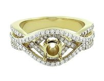 10k Yellow Gold Ladies Diamond Semi Mount Infinity Halo Engagement Ring 1.25 Ct