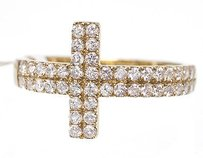 10k Yellow Gold Ladies Sideways Cross Row Genuine Diamond Fashion Ring