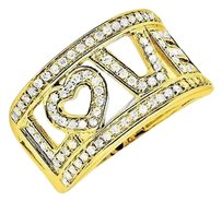 Other 10k Yellow Gold Love Spell Words Initials Genuine Diamond Band Ring 0.75ct.