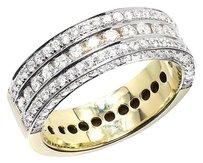 10k Yellow Gold Mens 3d Round Vs Diamond 7mm Wedding Band Ring Ct