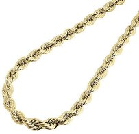 10k Yellow Gold Mens Or Ladies Hollow Rope Chain Necklace Mm 22 24 Inches