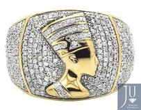 10k Yellow Gold Real Diamonds Mens Egyptian Nefertiti Iced Pinky Ring 1.25ct