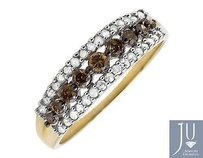 10k Yellow Gold Rows Brown And White Genuine Diamond Wedding Ring Band 0.50ct.
