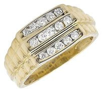 10k Yellow Gold Rows Channel Set Diamond Step Shank Wedding Band Ring 0.50ct.