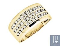 10k Yellow Gold Three Row Channel-set Diamond Engagement Wedding Ring Band .50ct