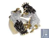 10k Yellow Gold Twin Roaring Lion King 25mm Black And White Diamond Ring 2.0ct.