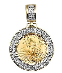 10k Yellow Gold Unisex 110 Oz Lady Liberty Coin Genuine Diamond Pendant 0.6ct