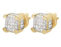 10k Yellow Gold Unisex Prong Cube Real Princess Diamond Stud Earring .50ct 7mm