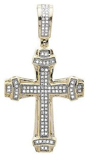 10k Yellow Gold Vintage Cross Collar Edge Diamond 1.25 Inch Pendant Charm 0.38ct