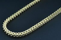 110th 10k Yellow Gold Franco Box 32 Mens Chain 5.25mm 3d Plain Hollow Link