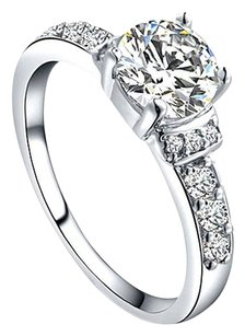 1/2ct White Topaz Solitaire Engagement Ring Free Shipping