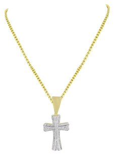 14k Gold Finish Cross Pendant Simulated Diamonds Iced Out Stainless Steel Chain
