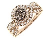 14k Rose Ladies Cluster Halo Brown White Diamond Engagement Fashion Ring 1 Ct